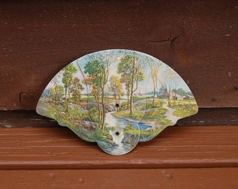 Early Advertising Fan, Picturesque Folding Fan, Maine Lake View Advertising, Cottage Art