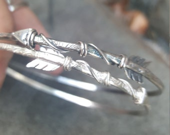 Sterling Silver Arrow bangle made to order, either choose antique or plain sterling silver, made to order.
