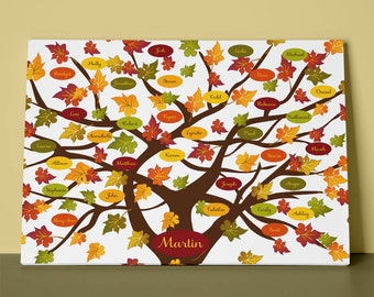Autumn Family Tree Gallery Wrapped Canvas, Maple Tree, Fall Family Tree, Parent Gift, Grandparent Gift, Anniversary Gift or Christmas Gift