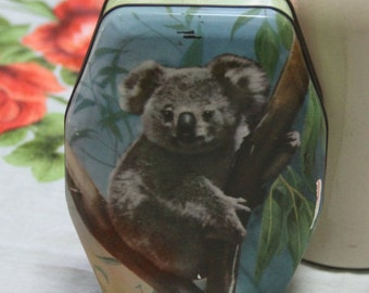 Gorgeous RARE 1960s Vintage Koala - Woolworths  LTD (Australia and New Zealand ) Lolly Tin