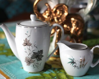 Vintage 1960's China Teapot and Creamer