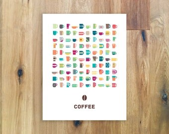 Coffee Cup Poster - Coffee Wall Art - Kitchen Decor - Office Decor - Coffee Sign - Coffee Illustration