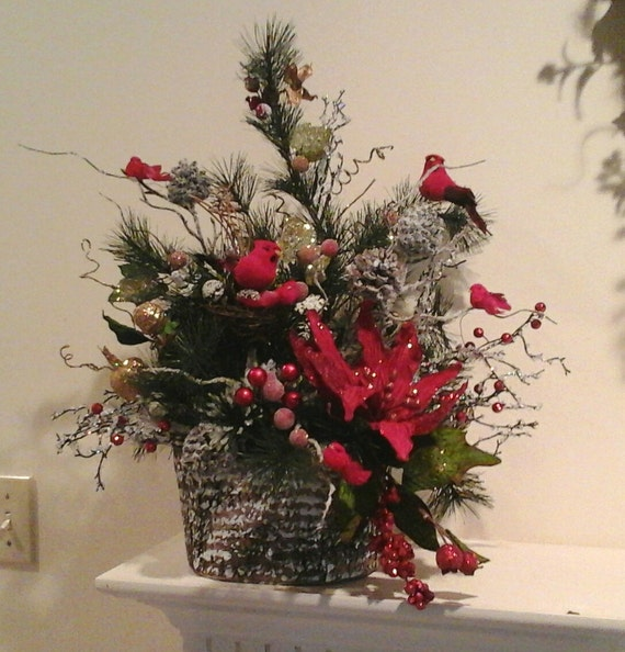 Winter floral arrangementshipping included centerpiecerustic
