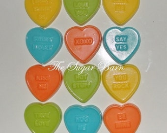 HEART CONVERSATION Chocolate Pieces*36 Count*Valentine's Day Cupcake Toppers*Party Favors*Valentine's Day Gift*School Party Favors