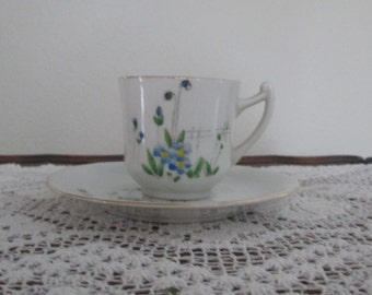 Vintage Hand Painted Demitasse Cup and Saucer/Made in Japan/Blue Flowers  #16166