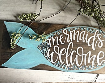Mermaid Sign | Mermaid Bedroom Wall Decor | Mermaid Bathroom Wall Art | Mermaid Art | Mermaids Welcome Sign | Mermaid Birthday Party Decor