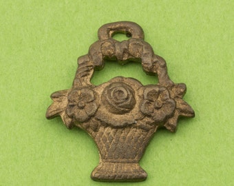 Rare Vintage Brass Flower Basket Pendant Charm 18x20mm 1 piece for Necklace, Bracelet, Earrings and Crafts 10506005
