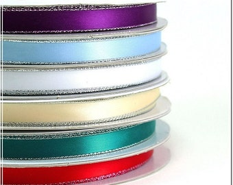 """3/8"""" Personalized Satin Ribbon with SILVER edge, favor accessories Lot of 15 ribbons"""