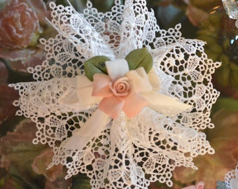 Doily Favor bag  with Capodimonte Flower, Almond Favors, Wedding Favors Bomboniere