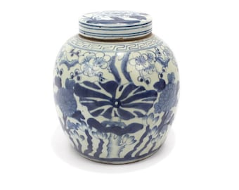 Beautiful Vintage Style Large Flower Floral Motif Blue and White Porcelain Round Flat Top Ginger Jar 10""
