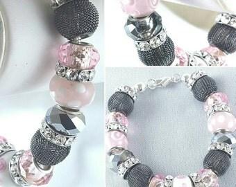 Classic Pink & Grey Lampwork Glass and Rhinestone Charm Bracelet Item #PGLB16