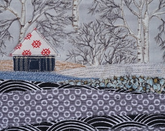Handmade Fabric Postcard, Quilted Postcard, Winter Scene, Textile Card, Fabric Collage, Mini Art, Landscape Quilt, Winter Card, Grey Winter