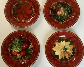 4 Hallmark Home Collection by Sakura Holiday Abundance Dessert Salad Plate Red