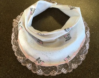 Love You More lace trimmed bib