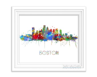 Boston Skyline Art Print Boston Watercolor Print Boston Cityscape Poster Illustration Boston Painting Home Decor Wall Art Gift (No.227)