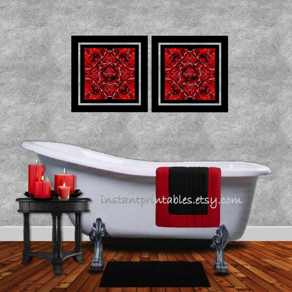 Bathroom Wall Decor Red : Red black wall decor bedroom bathroom art instant