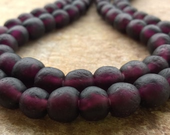 20 Purple Brown African Recycled Glass Beads,Deep Purple Glass beads,10-12 mm African Beads Ghana Recycled Glass Beads,African Krobo Beads,