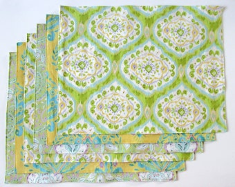 Large Cloth Placemats - Set of 6 - Yellow Green Ikat- Variety, Assorted, Mismatched - Reversible