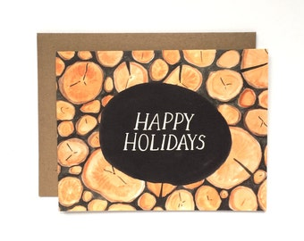 Rustic Logs Happy Holidays Card