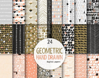 coral and gold glitter digital paper geometric pattern geometrical background textures glitter gold orange gray grey hand drawn doodle crazy