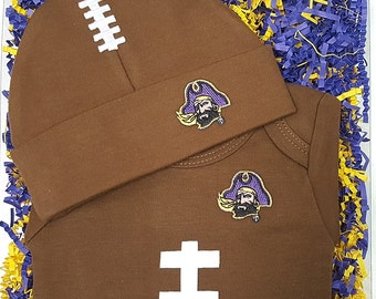 East Carolina Pirates Baby Football Bodysuit & Football Cap Gift Set
