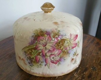 Large Antique Handpainted Porcelain Dome Shaped Cheese Cover