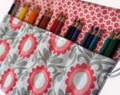 Colored Pencil Roll - Floral - Adult Coloring - Holds 24 Pencils