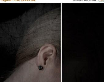 SALE Black post earrings, Black silver post earrings, Organic black post earrings, Oxidized silver black post earrings