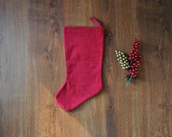 red velvet stocking / plush christmas stocking / burgundy holiday stocking