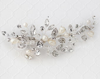 Bridal Hair Clip of Teardrop Ivory Pearls Crystals and Rhinestones Silver Wedding Headpiece Accessory
