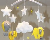 SALE!! hot air balloon mobile musical mobile baby mobile elephant yellow grey white baby nursery cloud mobile felt mobile star mobile