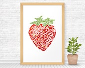 Strawberry art, Wall Decor, Printable Wall Art, Kitchen decor