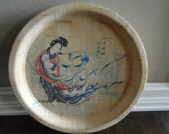 Asian Bamboo Seving Plate / Oriental Plate / Geisha Plate, 60's