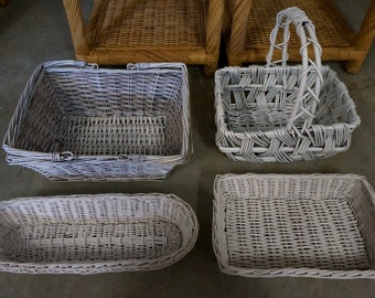 Group of 4 WHITE-WASH BASKETS - have been refurbished