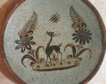 1940's-50's Mexico Tonala pottery Plate or Charger with Deer/Stag/Gazelle design-