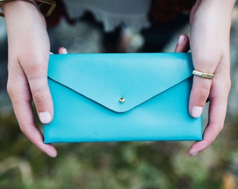 Leather Wallet in Turquoise