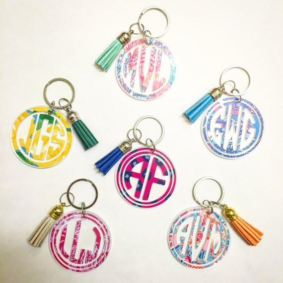 Monogrammed Lilly Pulitzer inspired tassel keychains