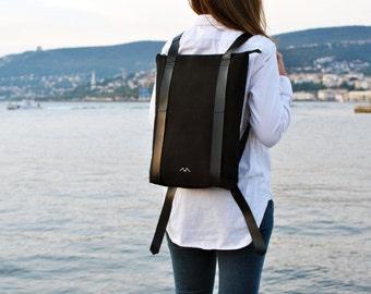 Waterproof canvas backpack, durable backpack, minimalist back pack, laptop backpack, Zipper daypack 202
