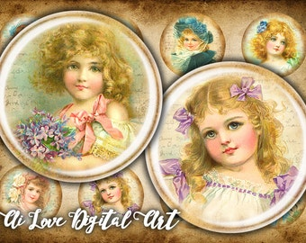 Vintage Girls digital collage sheet, 1.5 inch, 30mm, 1 inch circle digital download cabochon, bottlecap images, shabby chic jewelry making