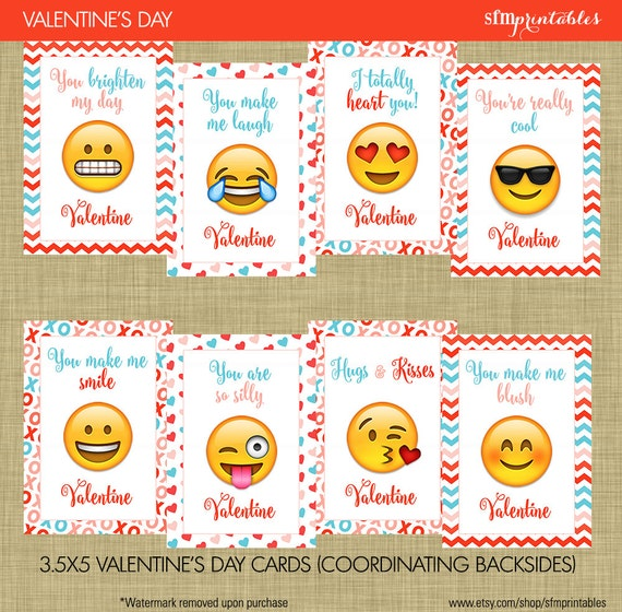 emoji valentines day cards kids school valentines smiley kissey face heart face emoji chevron hearts and xo modern - Valentine Day Cards For Kids