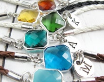 October Birthstone Bracelet-Birthstone Bracelets with Initial-Birthday Gift For Her-Personalized Birthstone Jewelry-Simple Birthday Gift