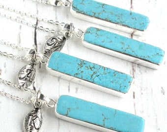 Bridal Party Gifts-Turquoise Jewelry-Turquoise and Silver Necklace-Turquoise Pendant Necklace-Bridesmaid Necklaces-Rustic Bridal Party Gifts