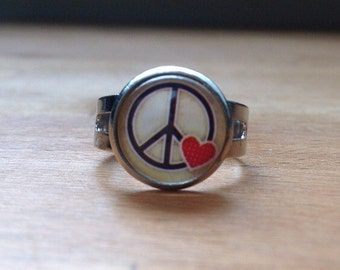 Silver peace & love ring