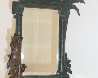 Antique Art Nouveau cast iron oriental table mirror circa 1900-1910