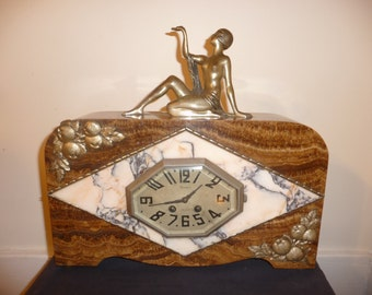 Antique French Art Deco marble and spelter figurine clock - circa 1920-30