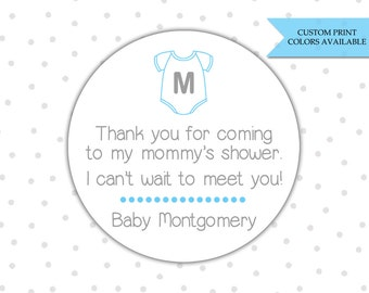 Baby shower stickers - Baby shower labels - Personalized baby shower stickers - Onesie baby shower Onesie stickers (RW062)