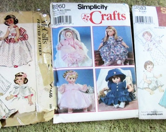 Baby Doll Clothes 3 sewing pattern Lot all sized 12 to 24 inches tall