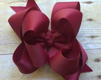 Plum hair bow, wine hair bow, maroon hair bow, photo shoot,