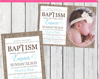 Baptism Invite burlap-***Digital File***  (Baptism-burlap boy)