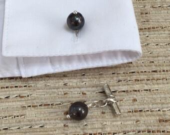 Cufflinks - Black Cultured Pearl